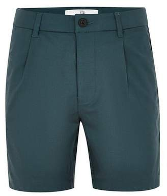 Topman Mens Navy Smart Pleated Tencel Shorts