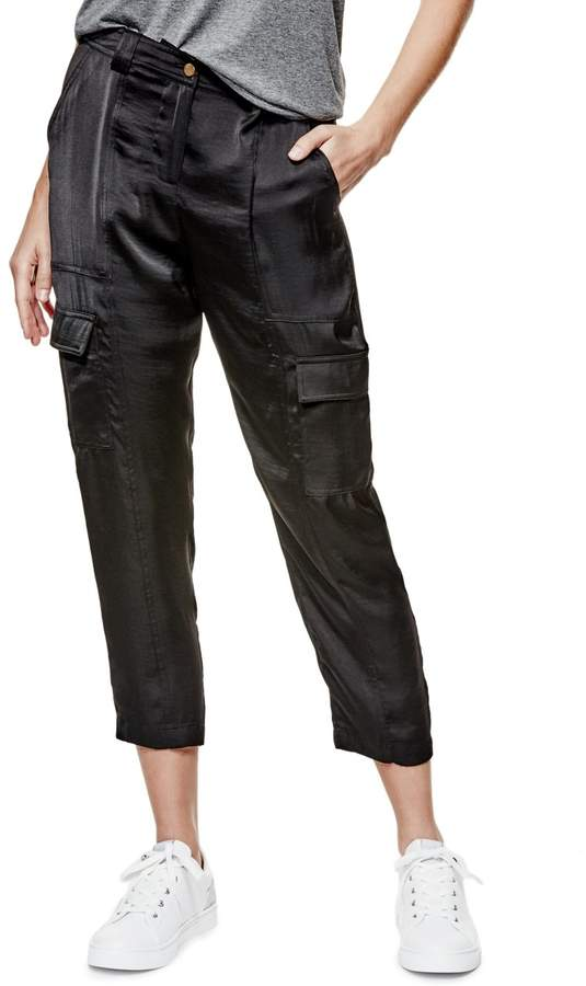 GUESS Women's Mid-Rise Satin Military Pants