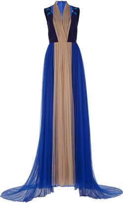 DELPOZO Color-Block Tulle Gown