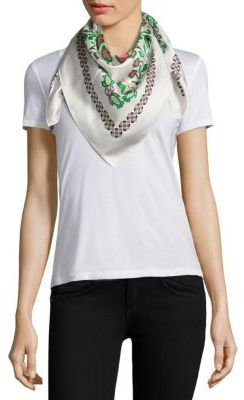Tory Burch Garden Party Silk Square Scarf $125 thestylecure.com