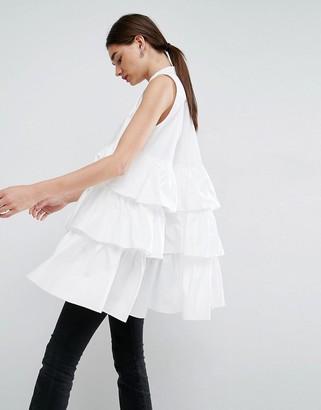 ASOS White ASOS WHITE Sleeveless Multi Frill Oversize Shirt $87 thestylecure.com