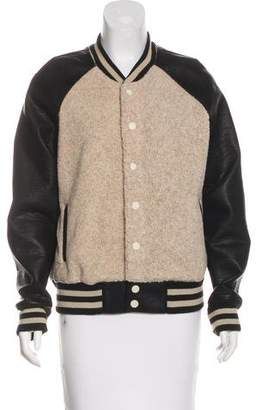 Mother Faux Leather Bomber Jacket