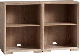 Pottery Barn Teen Callum Double Wide Set, 2 Cubbies + Feet, Water-Based Smoked Gray, UPS