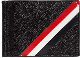 Thom Browne Stripe Pebbled Leather Money Clip Wallet