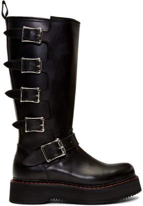 R 13 Black High Moto Boots