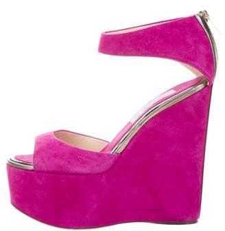 Jimmy Choo Platform Wedge Suede Sandals