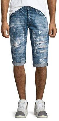 PRPS Distressed Slim-Fit Denim Shorts, Blue $275 thestylecure.com