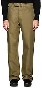 Margaret Howell Men's Cotton Twill Wide-Leg Trousers - Green