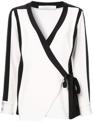 Kimora Lee Simmons silk bomber blouse
