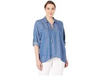 99a2d9f9796ff5 Karen Kane Plus Plus Size Lace-Up Wrap Hem Top