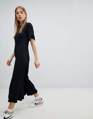 Nobody's Child Ribbed Relaxed Jumpsuit With Frill Hem
