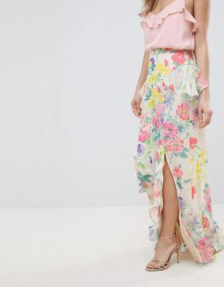 Asos Design DESIGN button back floral maxi skirt with peplum