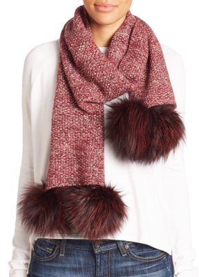 Portolano Fox Fur Pom-Pom & Cashmere Scarf $698 thestylecure.com