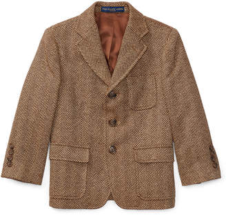Ralph Lauren Childrenswear Princeton Herringbone Wool-Silk Blazer, Size 4-7