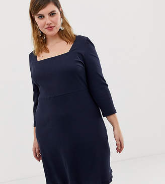 Glamorous Curve skater dress with square neck in rib