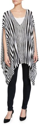 Minnie Rose Space-Dye V-Neck Poncho, Black $106 thestylecure.com