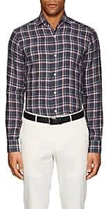 Barba MEN'S PLAID SLUB-WEAVE LINEN SHIRT-GRAY PAT. SIZE XL