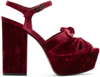 Saint Laurent Red Velvet Farrah Bow Sandals