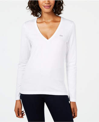 Lacoste Cotton V-Neck Top