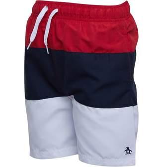 ab420699 Original Penguin Junior Boys Colour Block Swim Shorts Lipstick Red