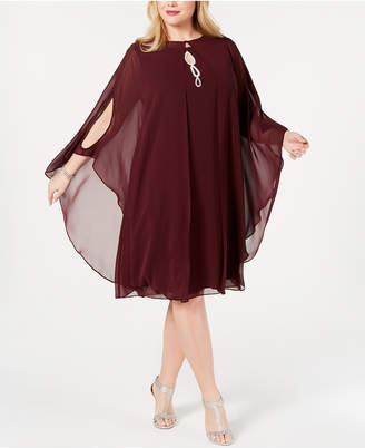 Sl Fashions Plus Size Rhinestone Chiffon Dress & Capelet