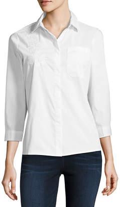 Liz Claiborne Long Sleeve Embroidered Shirt - Tall