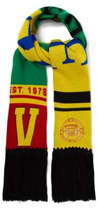 Versace 1978 Team Wool Scarf - Womens - Yellow