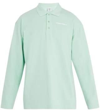 Vetements - Long Sleeved Logo Print Piqué Polo Shirt - Mens - Green