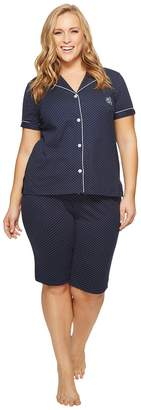 Lauren Ralph Lauren Plus Size Short Sleeve Notch Collar Bermuda Shorts PJ Set Women's Pajama Sets
