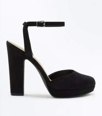 New Look Black Suedette Two Part Platform Courts