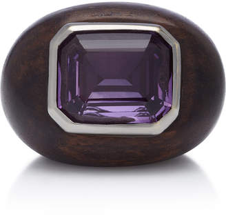 Rosa de la Cruz 18K White Gold Ebony and Amethyst Ring