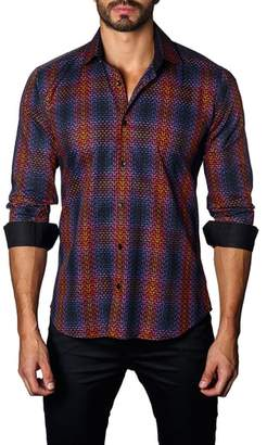 Jared Lang Trim Fit Ombre Plaid Sport Shirt