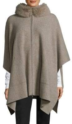 Sofia Cashmere Fox Fur-Trimmed Zip-Up Cape