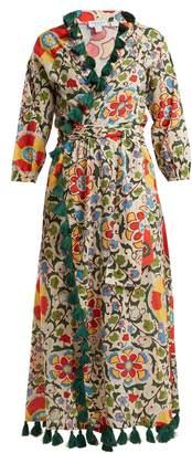 RHODE RESORT Lena tassel-trimmed cotton wrap dress