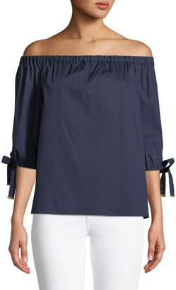 Michael Kors Off-The-Shoulder Tie-Sleeve Blouse