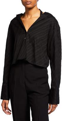 Rokh Long-Sleeve V-Neck Crossover Top