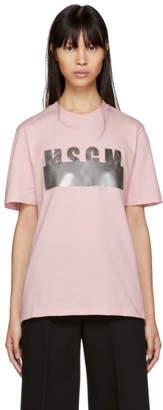 MSGM Pink Stamped Logo T-Shirt