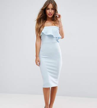 Asos Textured Bandeau Asymmetric Ruffle Midi Dress
