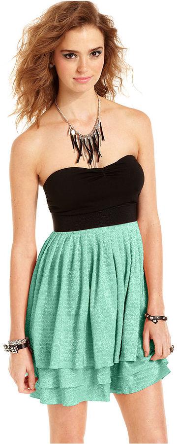 Miss Chievous Juniors Dress, Strapless Colorblocked Tiered Metallic