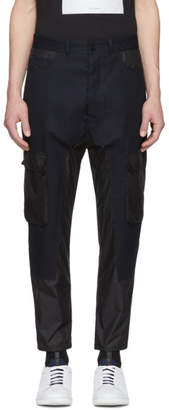 Diesel Black Gold Black and Navy Panelled Cargo Trousers