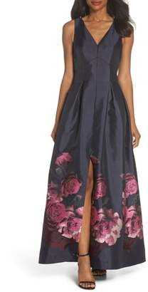 Eliza J Floral Taffeta Gown