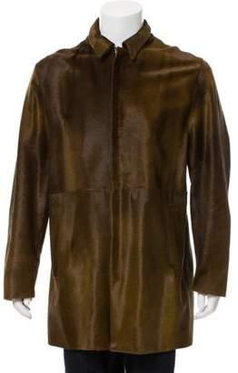 Kenzo Calf Leather Zip-Up Coat
