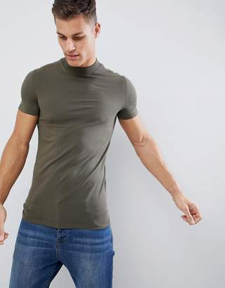 Asos DESIGN muscle fit t-shirt with turtleneck in green