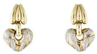 14K Diamond Heart Drop Clip-On Earrings
