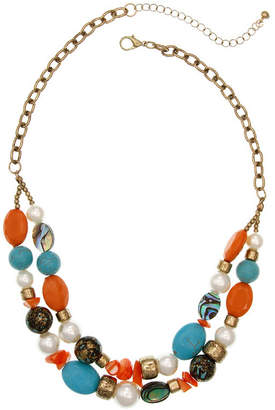 MIXIT Mixit Coral Turq Pearl Beaded Necklace