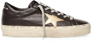 Golden Goose Hi Star Low Top Leather Trainers - Womens - Black Gold