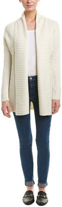Three Dots Open Wool-Blend Cardigan