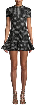 Valentino Jewel-Neck Short-Sleeve Polka-Dot A-Line Dress