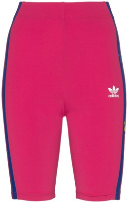 adidas floral-embroidered cycling shorts