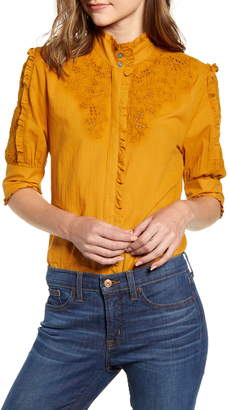 J.Crew Mock Neck Embroidered Blouse